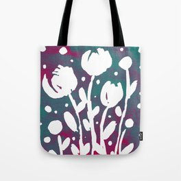 Whimsical watercolor flowers – magenta and teal Tote Bag