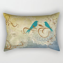 Bleu Birds Rectangular Pillow