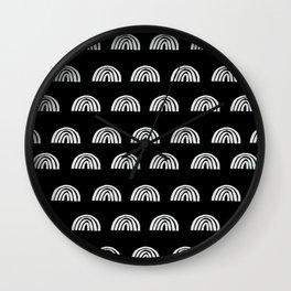 Linocut rainbow black and white half circle geometric minimalist nursery dorm college pattern Wall Clock