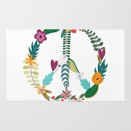 Floral Peace Sign Rug