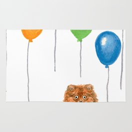 Pomeranian with balloons Rug