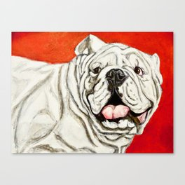 Uga the Bulldog Painting - Red Background Canvas Print