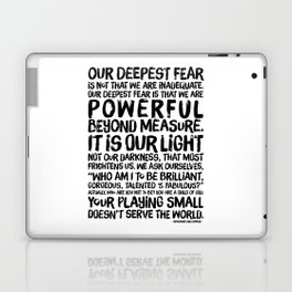 Inspirational Print. Powerful Beyond Measure. Marianne Williamson, Nelson Mandela quote. Laptop & iPad Skin