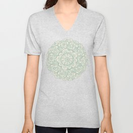 Sage Medallion with Butterflies & Daisy Chains Unisex V-Neck