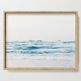 ocean waves, printable photography, coastal print, colorful photo, beach waves, beautiful beach, oce Serving Tray