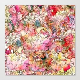 Summer Flowers | Colorful Watercolor Floral Pattern Abstract Sketch Canvas Print