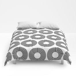 Modern Minimalist Geometric Striped Circle Black & White Comforters