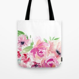 Pink Watercolor Florals with Greenery Tote Bag