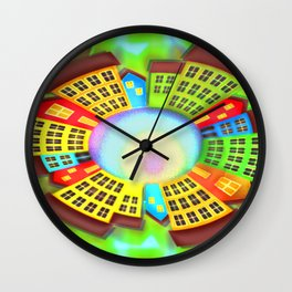 Little round dream-town Wall Clock
