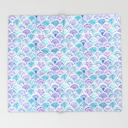 Mystical MERMAID DAYDREAMS Watercolor Scales Throw Blanket