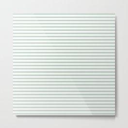 Mattress Ticking Narrow Horizontal Striped Pattern in Moss Green and White Metal Print