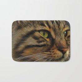 Aslan The Long Haired Tabby Cat Bath Mat
