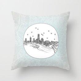 Austin, Texas City Skyline Illustration Drawing Throw Pillow
