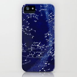 French March Star Map in Deep Navy & Black, Astronomy, Constellation, Celestial iPhone Case