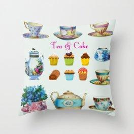 Tea & Cake Throw Pillow