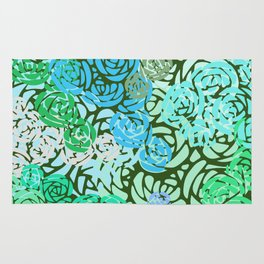 Colorful Overlapping Roses on Roses Print Design 2 Rug