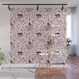 Cats on a flower matrix Wall Mural