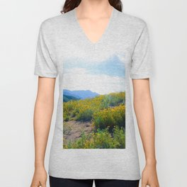 yellow poppy flower field with green leaf and blue cloudy sky in summer Unisex V-Neck