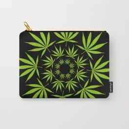 Cannabis Leaf Circle (Black) Carry-All Pouch