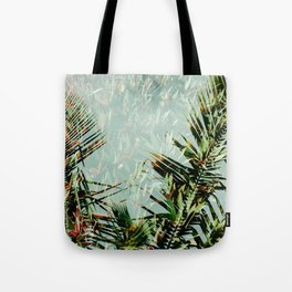 Palm Leaf Double Exposure Tote Bag