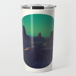 Mid Century Modern Round Circle Photo Graphic Design The Grand Canyon With Green Sunset Sky Travel Mug