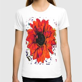 Orange Sunflower & Teal Contemporary Abstract T-shirt