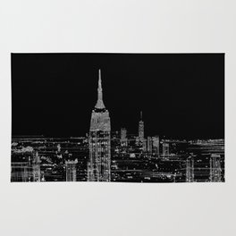 Contemporary Elegant Silver City Skyline Design Rug