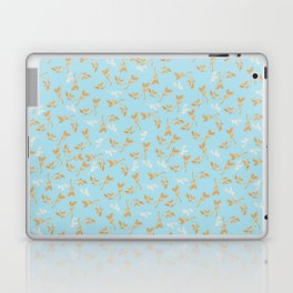 Gold & pearl watercolor leaves on light blu seamless pattern Laptop & iPad Skin