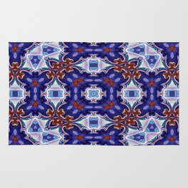 A Little Bit Country Blue Floral Pattern Rug