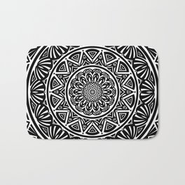 Black and White Simple Simplistic Mandala Design Ethnic Tribal Pattern Bath Mat