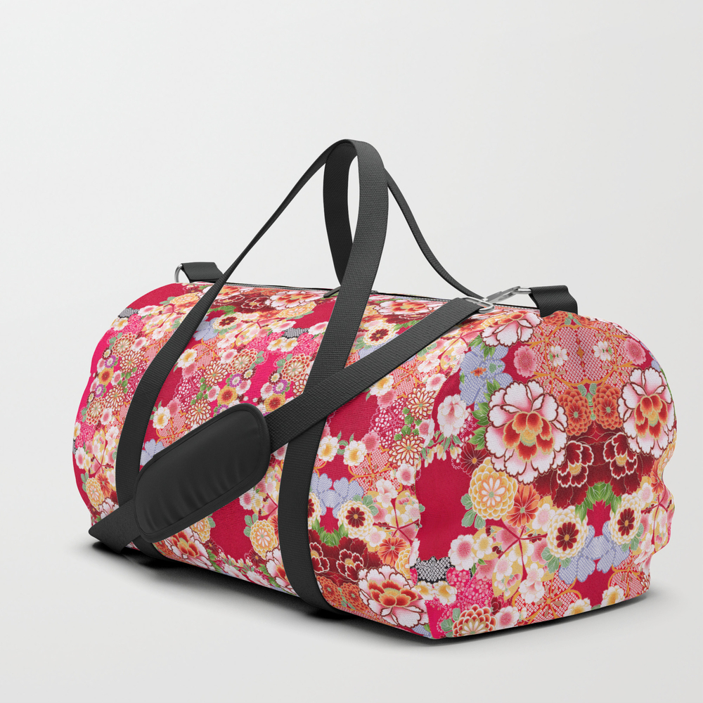 Red Floral Burst Duffle Bag by Falln DFL6995491