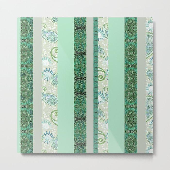 French Stripe Green/Grey Metal Print
