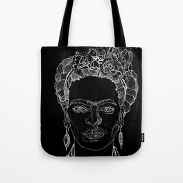 Geometric Black and White Drawing Frida Kahlo Tote Bag