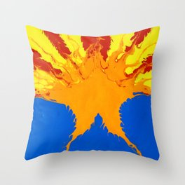 Arizona Flag (Poured Acrylic Style) Throw Pillow