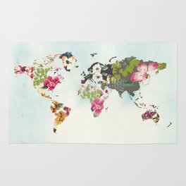 World Map Art Print, Poster, Tropical Home Decor, Floral, Teal Blue Rug
