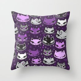 Purple Rockabilly Cats Throw Pillow