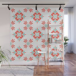 Coral and Aqua Retro Flower Tile Pattern Wall Mural