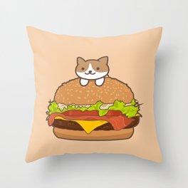 Neko Burger Throw Pillow