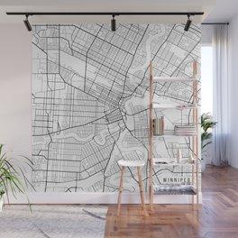 Winnipeg Map, Canada - Black and White Wall Mural