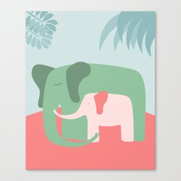 Mama Elephant (blue version) Canvas Print