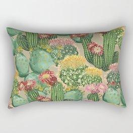 Assorted Blooming Cactus Plants Rectangular Pillow