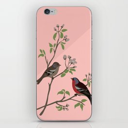 Peaceful harmony in the cherry tree - Illustration iPhone Skin