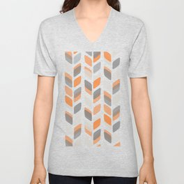 Modern Rectangle Print with Retro Abstract Leaf Pattern Unisex V-Neck