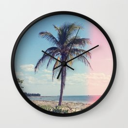 Palm Tree Light Leak Color Nature Photography Wall Clock