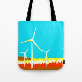 wind turbine in the desert with blue sky Tote Bag