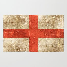 Vintage Aged and Scratched English Flag Rug