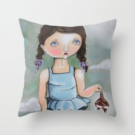 Suzie Saves Starfish by the Seashore Throw Pillow