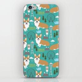 Corgi seattle washington welsh corgi pattern print dog lover gifts space needle ferris wheel coffee iPhone Skin