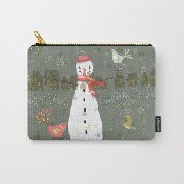 Cute Christmas Snowman & Birds Winter Scene Carry-All Pouch