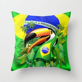 Toco Toucan with Brazil Flag Throw Pillow